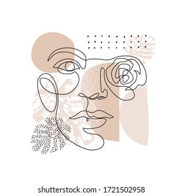 Female face one line drawing with minimal shapes, doodles, tropical leaves and flower. Abstract woman portrait illustration for fashion design, modern cover, poster, template in minimal flat style