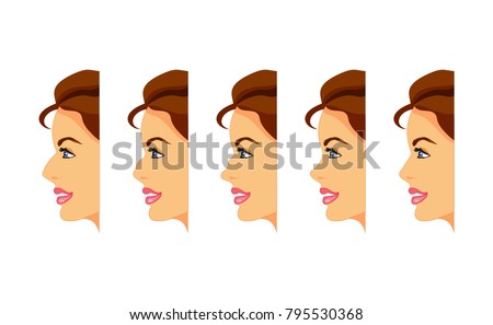female face profile different types nose stock vector royalty free