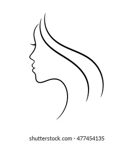Female face profile sketch. May be used for spa and beauty salon or another decoration.