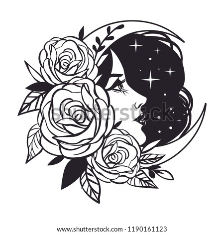 Female Face Roses Moon Stars Vector Stock Vector Royalty Free