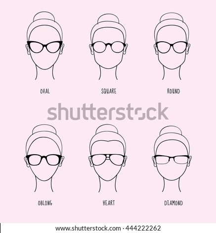 8613dc18863 Female face shapes. Glasses types. Line drawings. Vector illustration.  Woman glasses.