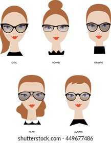 Female face shapes. Woman glasses types. Round, oval, rectangle, square, heart. Beauty Vector illustration.