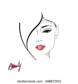 Female face silhouette with red lips. Hand drawing, lettering, fashion, beauty, sketch