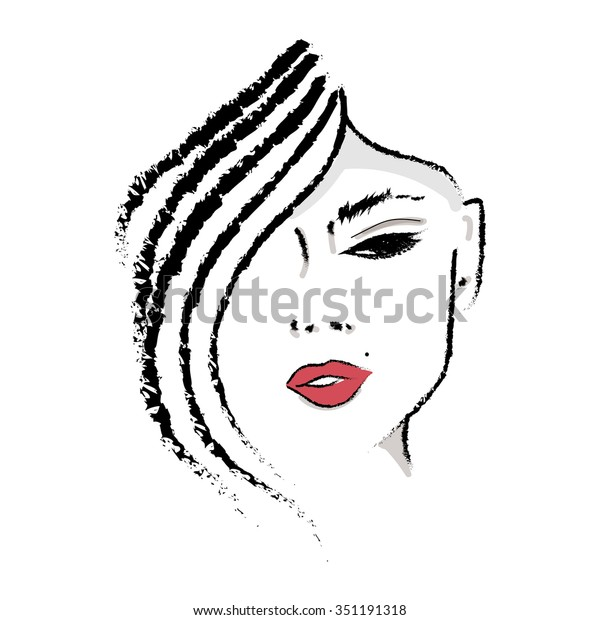 Female Face Silhouette Red Lips Hand Stock Vector (Royalty