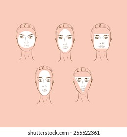 Female Face Types. Vector illustration.