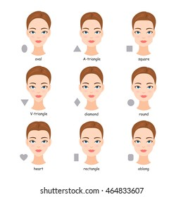 Female face types. Women with different face shapes. Vector cartoon illustration.