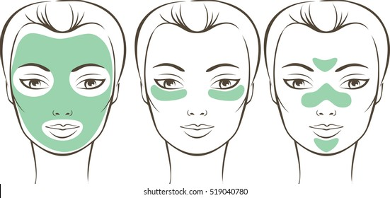 Female face with various beauty masks outline drawing