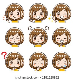 Female facial expression collection.