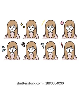 Female facial expression icon set