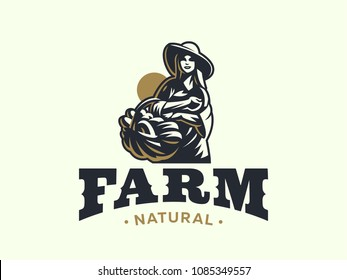 A female farmer in a hat with a basket of vegetables and fruits. Vintage vector logo.