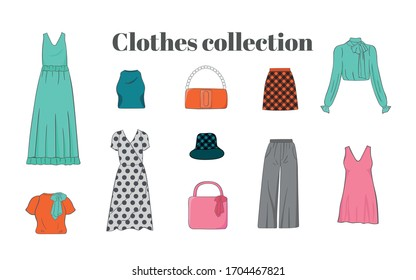 Female fashion apparel collection. Women clothes and design elements set. Vector flat cartoon illustration. Stylish travel clothing, isolated on white background. Fashion boutique