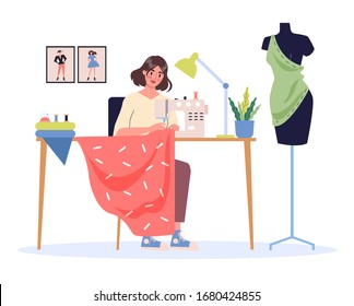 Female fashion designer at her work place. Young woman using a power sewing machine. Tailor with a seamstress mannequin. Isolated flat illustration