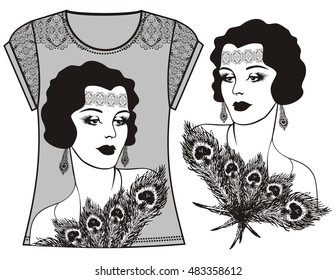 Female fashion illustration print t-shirt, sweatshirt for retro flapper girl 20's style. Clothing design - vector .