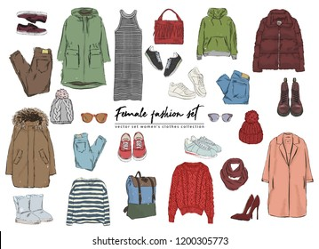 Female fashion set. Hand drawnи vector set women's clothes collection. Spring, autumn, winter outfit : dress, jeans, pants, hat, glasses, bags, jacket, trench coat, boots and sneakers.
