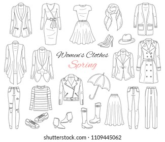 Female fashion set. Women's clothes collection. Spring outfit: dresses, jeans, tops, blazers, leather jacket, trench coat, cardigans, boots and sneakers, hand drawn vector illustration.
