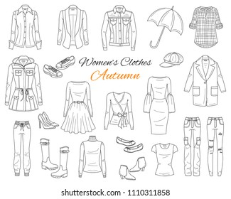Female fashion set. Women's clothes collection. Autumn outfit: jeans jacket,  coat, cardigan, dress, ripped jeans, blazer, blouse, boots and sneakers, hand drawn vector illustration.