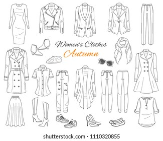 Female fashion set. Women's clothes collection. Autumn outfit: trench coat, leather jacket, cardigan, dress, jeans, pants, blazer, boots, flats and sneakers, hand drawn vector illustration.