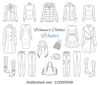 Female fashion set. Women's clothes collection. Winter outfit: down coat with fur hood, wool coat, dress, jeans pants, leggings, sweater, hat, scarf and high heel boots, hand drawn vector illustration