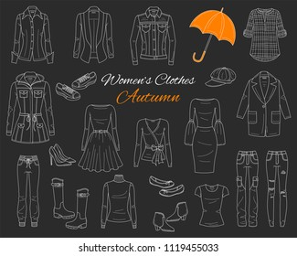 Female fashion set. Women's clothes collection. Autumn outfit: jeans jacket, parka coat, cardigan, dress, ripped jeans, blazer, blouse, boots and sneakers, vector sketch illustration on chalkboard.