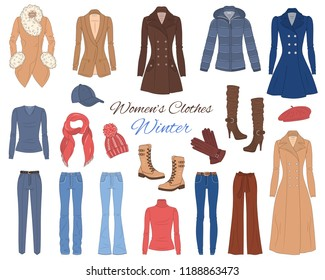 Female fashion set. Women's clothes collection. Winter outfit: down hooded coat, wool coats, dress, jeans pants, sweater, knitted hat, scarf, gloves and military boots,  vector illustration.