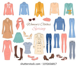 Female fashion set. Women's clothes collection. Spring outfit: dress, jeans, pants, tops, jeans jacket, trench coat, cardigan, blouse, french beret, boots and sneakers, vector illustration.