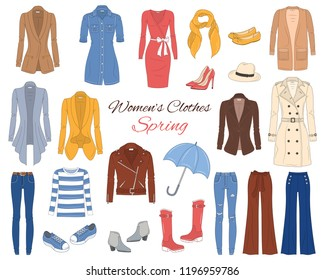 Female fashion set. Women's clothes collection. Spring outfit dresses, jeans, tops, blazers, leather jacket, trench coat, cardigans, boots and sneakers, vector  illustration