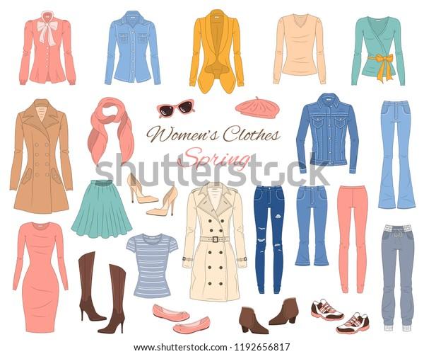 b43c76d5ebda Female fashion set. Women's clothes collection. Spring outfit: dress,  jeans, pants