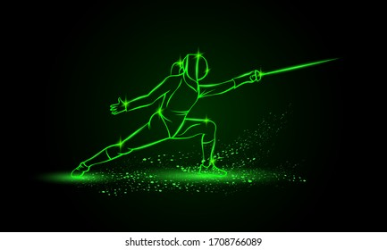 Female fencer in an attacking pose. Vector fencing sport green neon illustration.