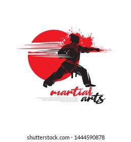 Female fighter character vector illustration for martial arts logo design.
