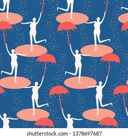 Female figure holding open umbrella. Singing in the rain seamless vector pattern. Woman leaping in water puddle. Concept of happiness, joy, wellness. Matisse style retro papercut. Raindrops falling