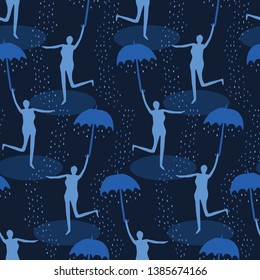 Female figure holding open umbrella. Singing in the rain seamless vector pattern. Woman leaping water puddle. Concept of happiness, joy, wellness. Matisse style papercut. Indigo blue raindrops falling