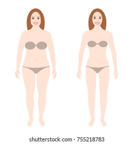 Female figure. Two identical women with different weights, full and normal. Weight loss, diet, change in appearance. Vector illustration