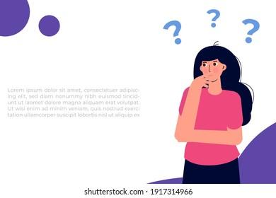 Female find solution, Problem solving concept. Vector illustration