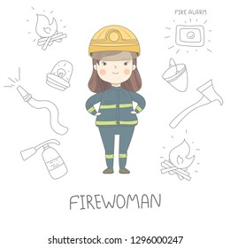 Female firefighter illustration in a flat style with hand drawn firefighting icons. Firewoman character vector design. Professional woman career and gender equality concept