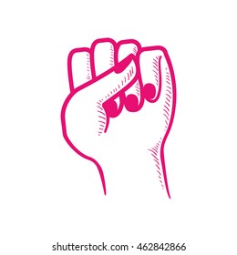 female fist hand finger gesture palm icon. Isolated and flat illustration. Vector graphic