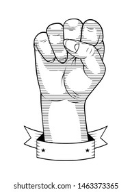 Female fist linear drawing. Banner Ribbon. Retro style.