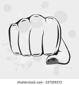 Female Fist. Women Rights. Girl Power. Vector Illustration Isolated On White Background