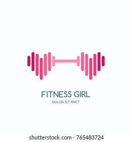 Female fitness gym concept. Vector logo, label, icon or emblem with pink dumbbell heart shape. Design for woman sports club, workout and bodybuilding.