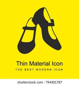 Female flamenco dancer shoes bright yellow material minimal icon or logo design