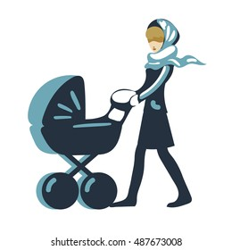 female, flat mom with a stroller vector isolated