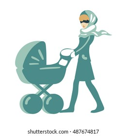 female, flat mom with a stroller vector isolated, for coupling carriage