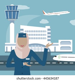 Female flight attendant, a Muslim woman in hijab. Muslim airline icon. The stewardess on the airport and plane background.