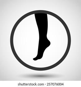 Female foot vector icon - black illustration
