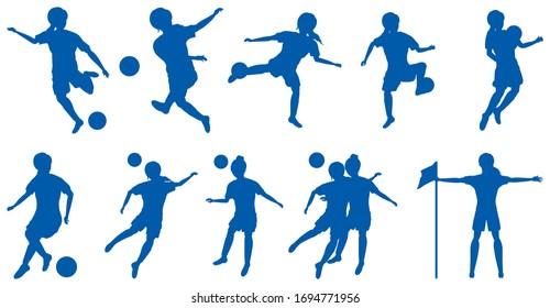 Female football players silhouette set