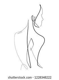 Female Form One Single Continuous Vector line Graphic Illustration
