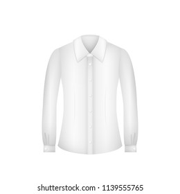 Female formal white blouse with long sleeves. Isolated Vector Illustration.