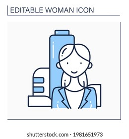 Female founder line icon. Successful businesswoman. Profitable startup. Prosperous business founder. Perfect financier. Strong woman concept. Isolated vector illustration.Editable stroke
