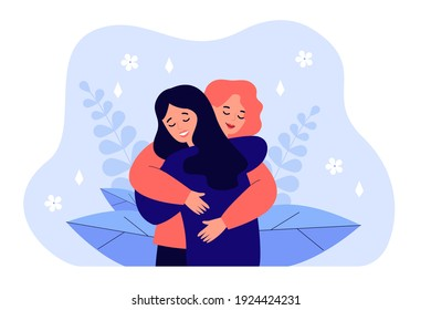 Female friend hug. Women embracing each other, expressing love, affection, support. Vector illustration for friendship, strong relations, support concept