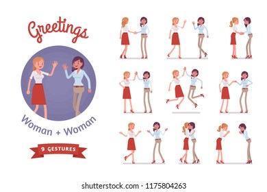 Female friends greeting set. Women in polite, formal, friendly gestures, respect, agreement pose. Business manners, etiquette concept. Vector flat style cartoon illustration isolated, white background
