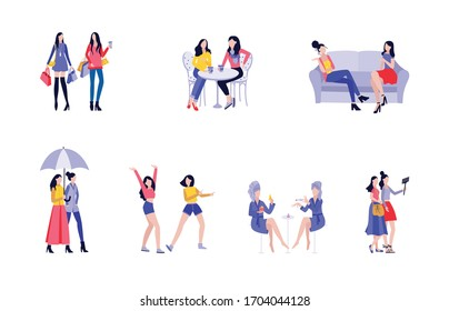Female friendship set - two cartoon girls shopping, walking and talking together isolated on white background. Flat collection of women having fun.